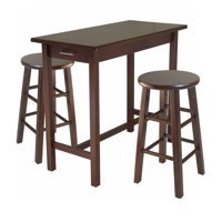 Set of 3 Antique Walnut Finish Breakfast Table Set with 2 Square Leg Stools 39.25""