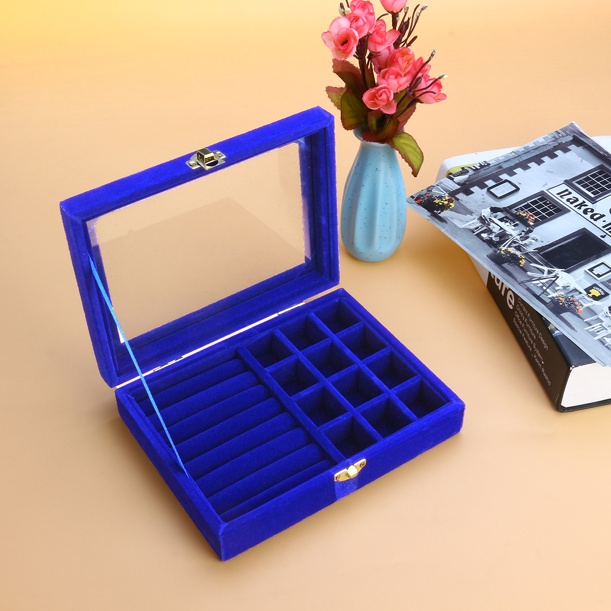 Jewelry Storage Case Flannel Material Jewelry Earring Ring Display Box 5 Colors
