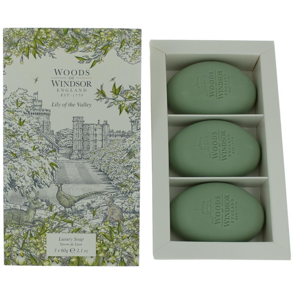 Woods Of Windsor Lily Of the Valley by Woods of Windsor 3 X 2.1 Luxury Soap for Wome
