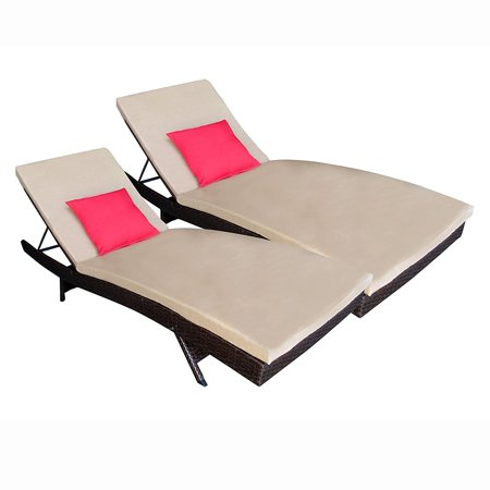 Aleko Adjustable Patio Wicker Lounge Chairs Cushions Brown