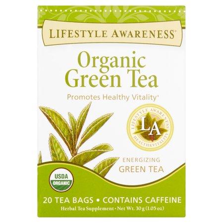 LIFESTYLE AWARENESS Thé vert bio supplément à base de plantes thé Sachets de thé, 20 count, 1,05 oz, (paquet de 6)