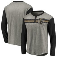 Vegas Golden Knights Fanatics Branded True Classics Retro Stripe Long Sleeve Henley T-Shirt - Heathered Gray/Black