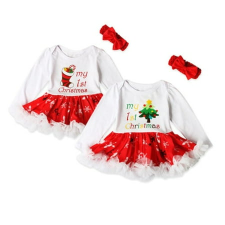 My First Christmas Newborn Baby Girl Tutu Dress Skirt Princess Kids Romper - Christmas Kids Dress