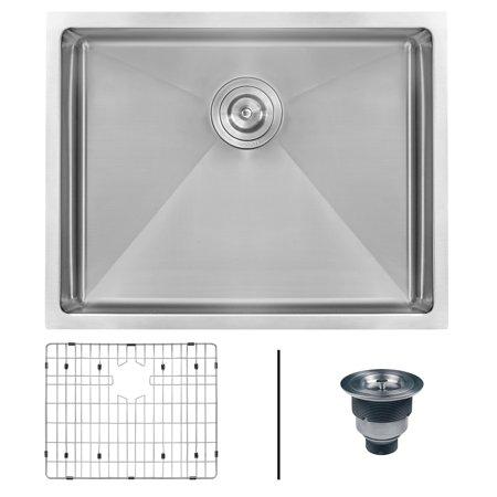 Tight Radius (Ruvati 23-inch Undermount 16 Gauge Tight Radius Stainless Steel Kitchen Sink Single Bowl - RVH7123)