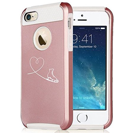 For Apple iPhone 6 6s Rose Gold Shockproof Impact Hard Soft Case Cover Heart Love Ice Skating (Rose Gold-White) (Iphone 4s Ice Skating Case)
