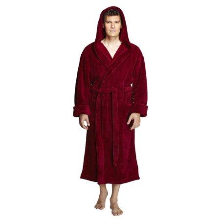 Men\'s Hooded Fleece and Turkish Soft Microfiber Plush Bathrobe with ...