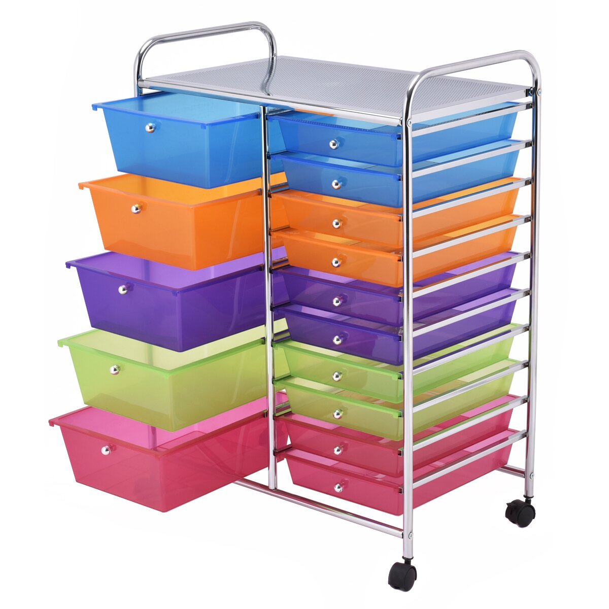 Gymax Rolling Storage Cart 15 Drawers Organize Shelf Offi...