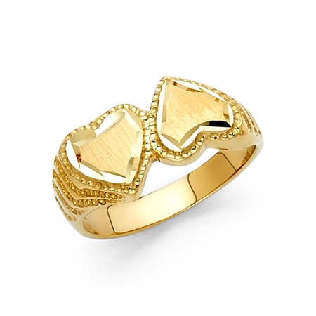 Two Hearts One Love Ring (Two Hearts Together Love Ring Solid 14k Yellow Gold Diamond Cut Polished Genuine Fancy)