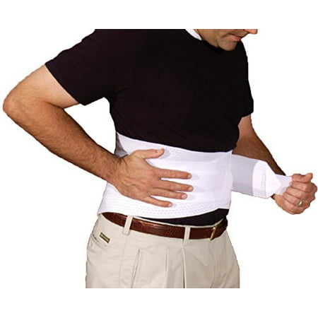 Back Brace With Ventilated Elastic / Lumbosacral Support / Abdomen Support - Cool Elastic Material (Large White)