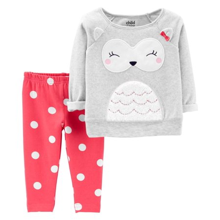 Long Sleeve Owl Fleece Top & Pants, 2-Piece Outfit Set (Baby Girls) (Baby Girl Owl)
