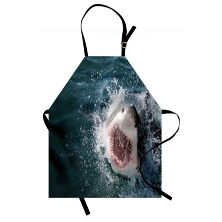 Shark Apron Wild Animal in the Sea Attacking Showing the Mouth and Teeth Scary Print, Unisex Kitchen Bib Apron with Adjustable Neck for Cooking Baking Gardening, Petrol Blue Grey White, by Ambesonne - Scary Mouth