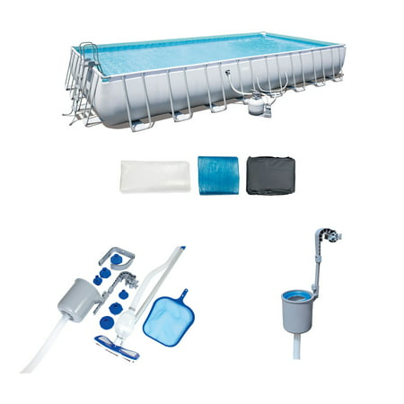 Bestway 31.3ft x 16ft x 52in Pool Set with Vacuum & Maintenance Kit with Skimmer -  56625E-BW + 58237E-BW + 58233E-BW