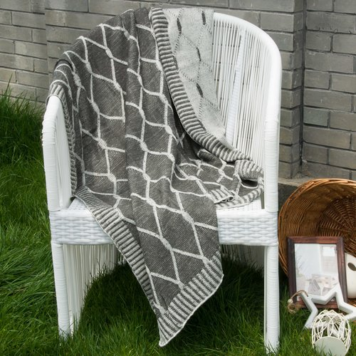 Gracie Oaks Dorning Knitted Geometric Patterns Throw