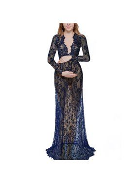 3ed991e442ffd Product Image Fashion Pregnant Women's Deep V-neck Lace Sexy See-Through  Mesh Maternity Dress Maxi