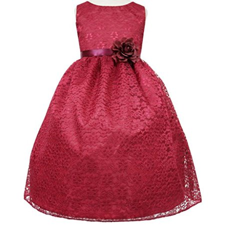 Flower Girl Dress Floral Lace Bridesmaid Dress for Little Girl Burgundy 10 CA749