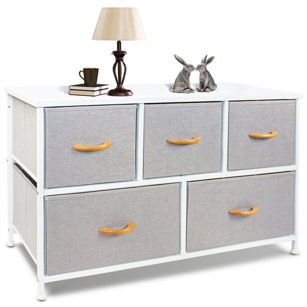 Bigroof Gray 5 Drawer Dresser for Bedroom, Fabic Dresser Organizer with Wooden Handle