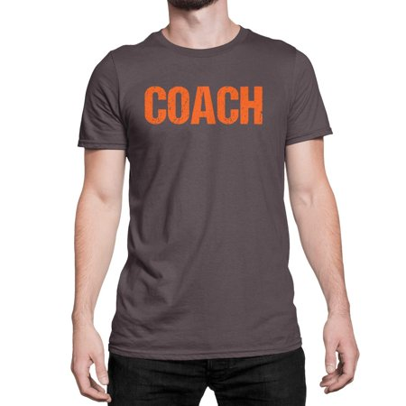 Coach T-Shirt Adult Mens Tee Shirt Front Screen Printed Tshirt (Brown-Orange,