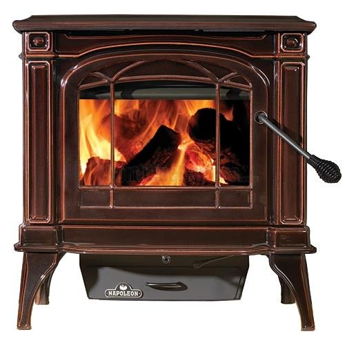 Cast Iron 55K Wood Burning Stove - Porcelain Enamel Majolica Brown