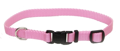 """Adjustable Nylon 3 8"""" Dog Collar with Tuff Buckle-Pink, Neck Size 8""""-12"""" by Coastal Pet Products"""