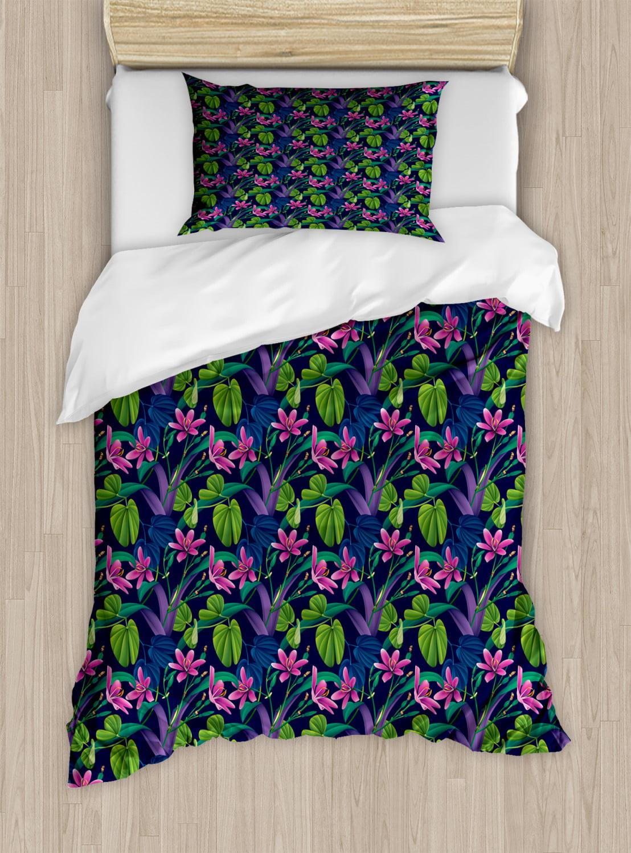 Exotic Duvet Cover Set, Flourishing Nature Themed Pattern Inspired by Brazilian Rainforests ...