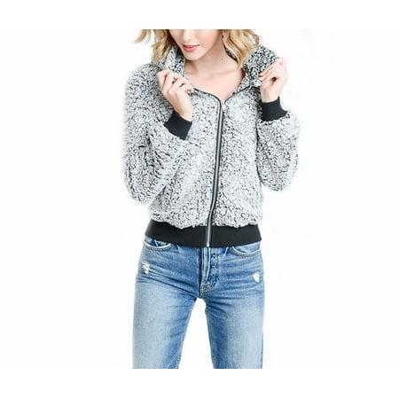 Women's Casual Winter Hoodie Warm Sherpa Lined Zipper Sweatshirt Fleece Fuzzy Jacket Coat with Pockets - Straight Jacket Funny
