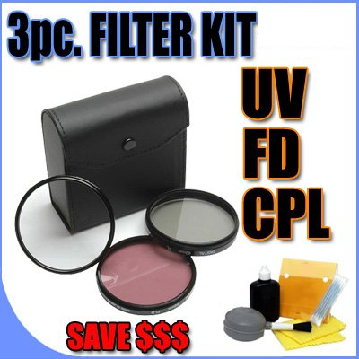 3 Piece Filter Kit UV, FD, CPL 25mm Filters w/ Hard Case ...