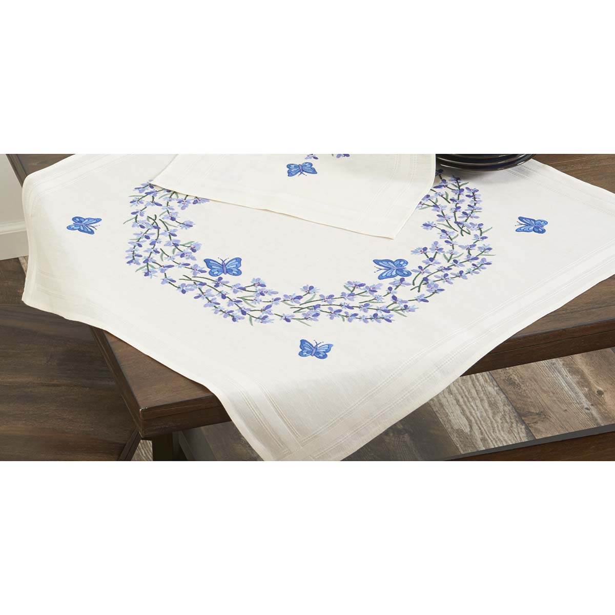 Herrschners® Lavender With Butterflies Table Topper Stamped Embroidery Kit