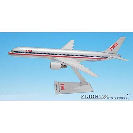 TWA/AA Trans (01-02) 757-200 Airplane Miniature Model Plastic Snap Fit 1:200 Part# ABO-75720H-050
