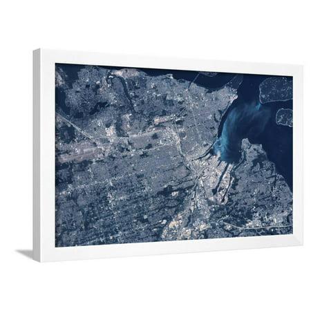 Satellite view of Tacoma, Pierce County, Washington State, USA Framed Print Wall Art