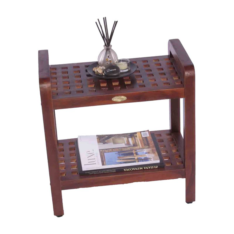 Decoteak 18 in. Teak Grate Stool with Shelf with Lift Aid...
