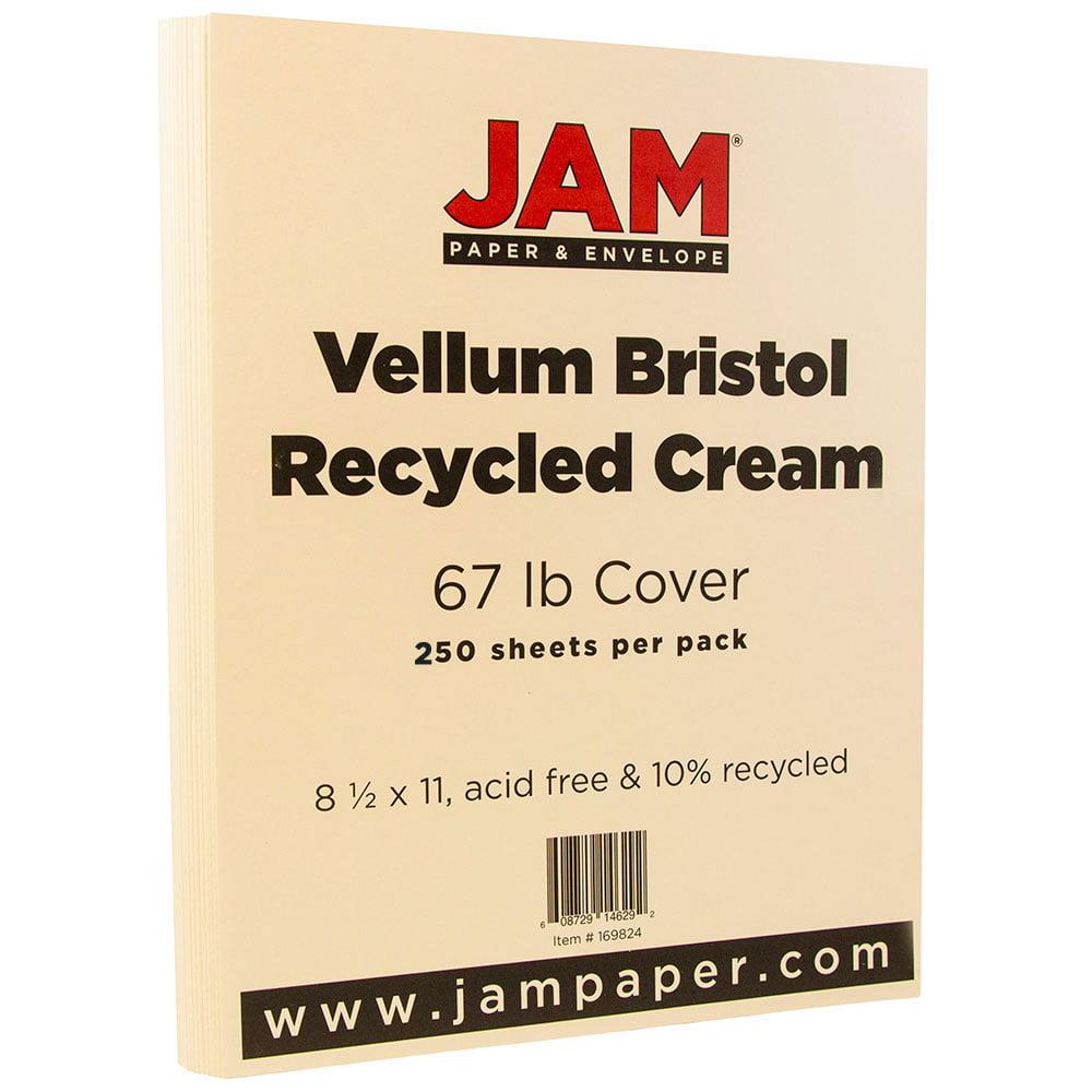 JAM Paper Vellum Bristol Cardstock, 8.5 x 11, 67 lb Cream, 250 Sheets/Pack