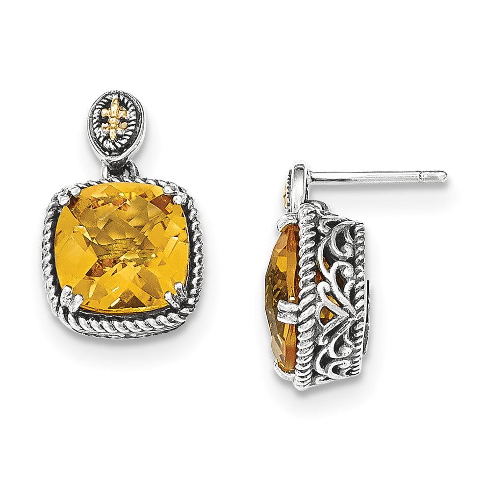 Lex & Lu 14k Yellow Gold w/Sterling Silver Citrine Dangle Post Earrings