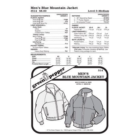 Men Blue Mountain Jacket Sewing Pattern