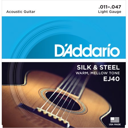 D'Addario EJ40 Silk & Steel Folk Guitar Strings, -
