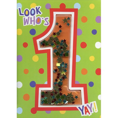 Paper House Productions Look Who's 1 Confetti Shaker 3D Age 1 / 1st Birthday Card](Halloween Shaker Cards)