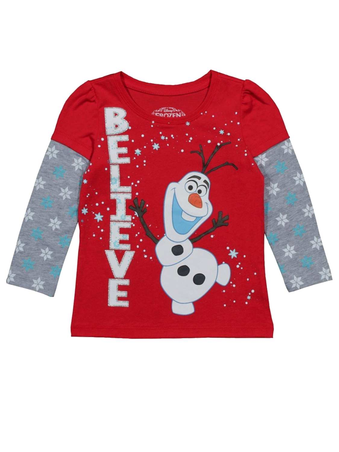Disney Frozen Toddler Girls Red Believe Holiday T-Shirt Olaf ...