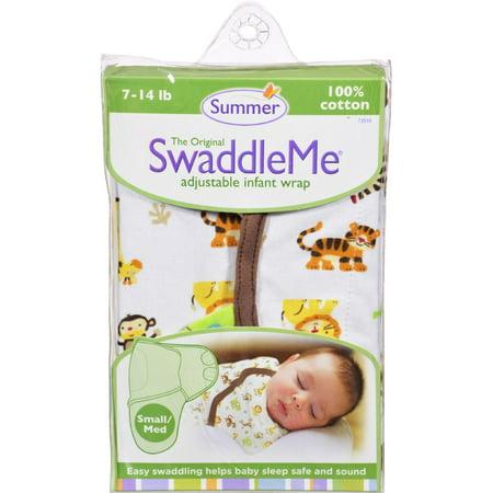 Summer Infant SwaddleMe Adjustable Infant Wrap - Small/Medium 7 - 14 lbs - Jungle -