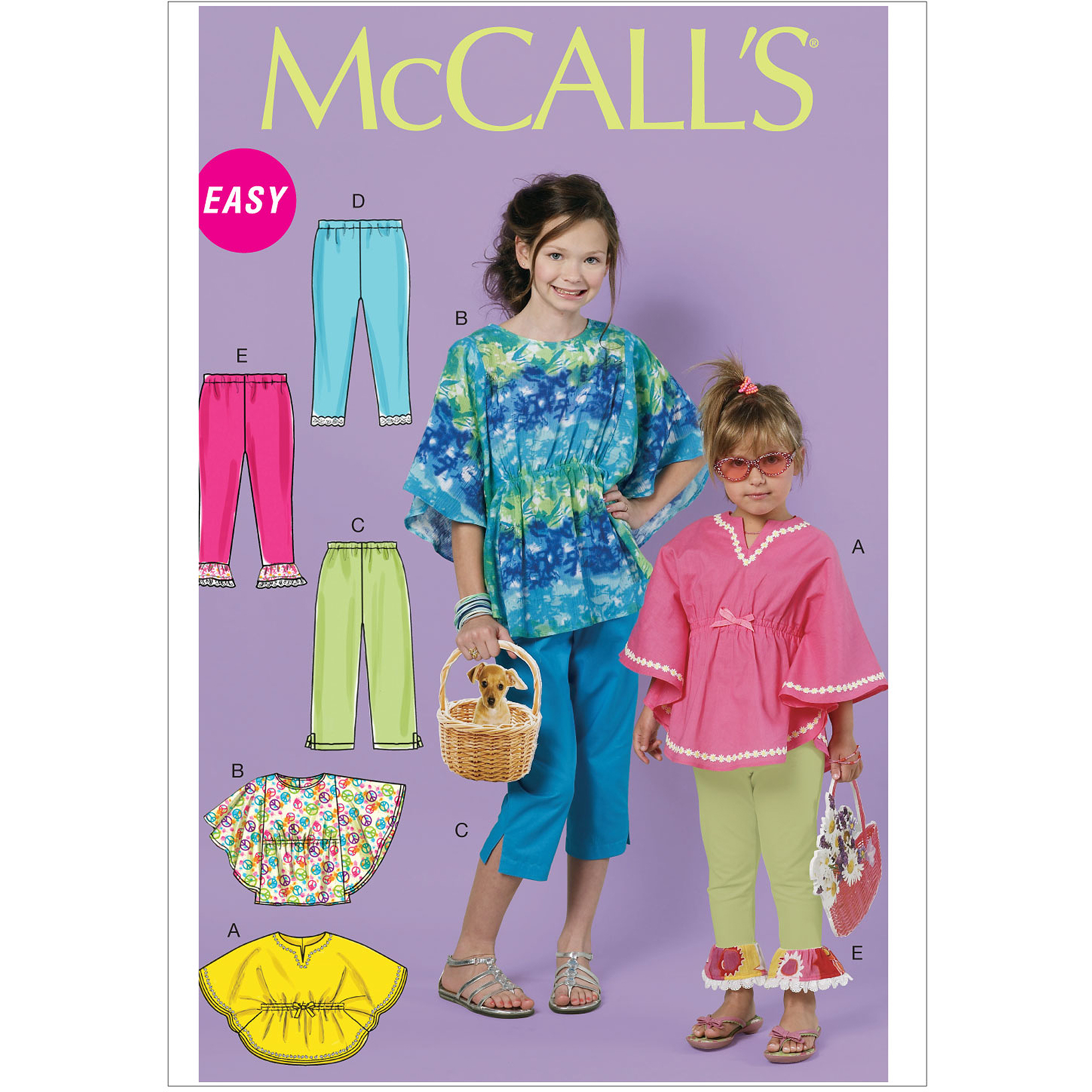McCall's Pattern Children's and Girls' Tops, Pants and Leggings, CHJ (7, 8, 10, 12, 14)