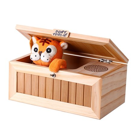 Generic Wooden Useless Box Leave Me Alone Box Most Useless Machine Don't Touch Tiger Toy Gift with (Jack In The Box Pinball Machine For Sale)