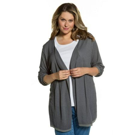 Ulla Popken Women's Plus Size  Texture Stripe Cardigan Sweater. 712255
