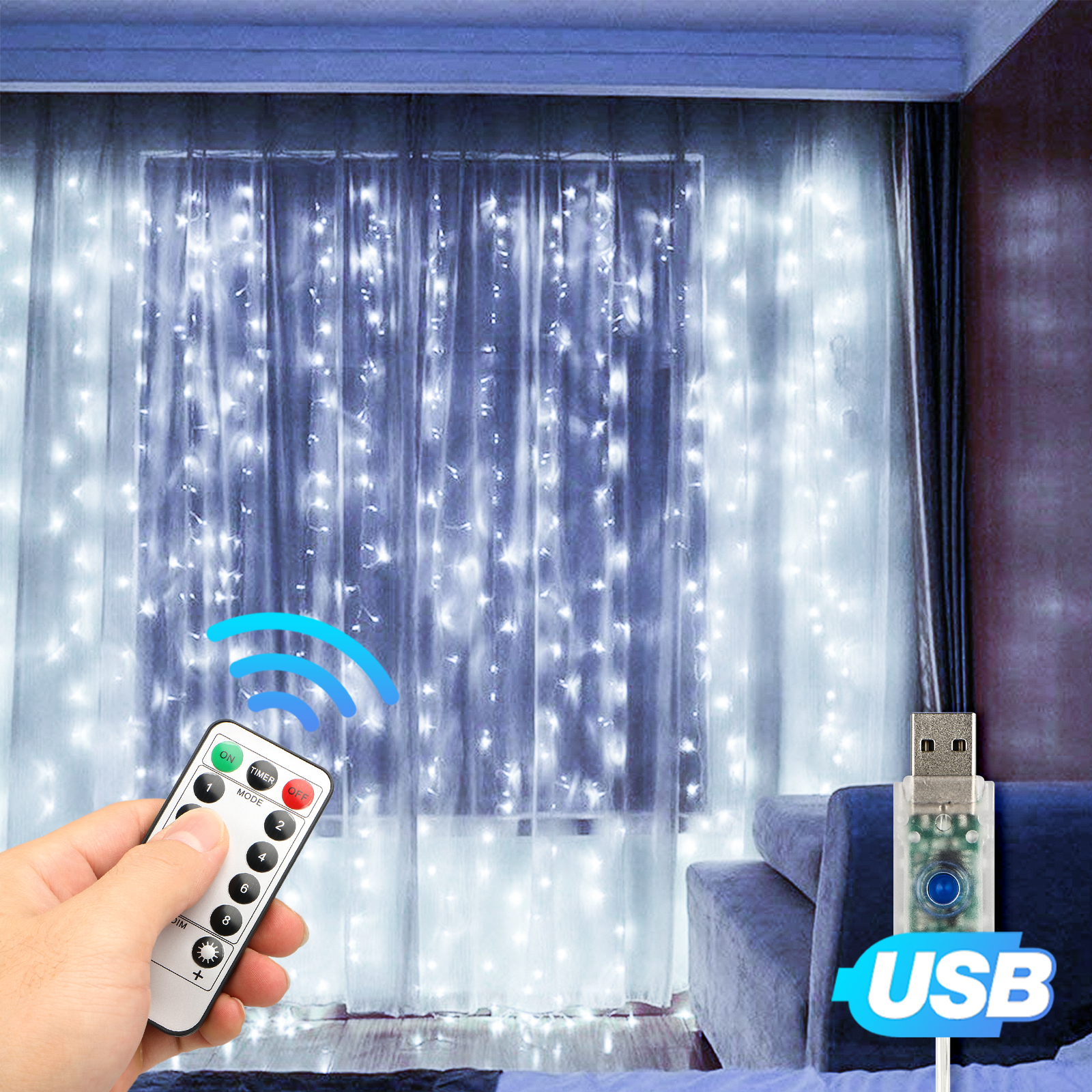 USB Fairy Lights Curtain String Light Home Party Wedding w//Remote Control 300LED