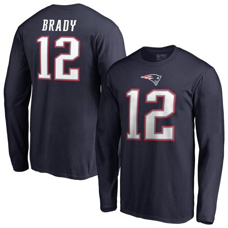 Tom Brady New England Patriots NFL Pro Line by Fanatics Branded Authentic Stack Name & Number Long Sleeve T-Shirt - (Sorority Long Sleeve Shirts With Name On Back)