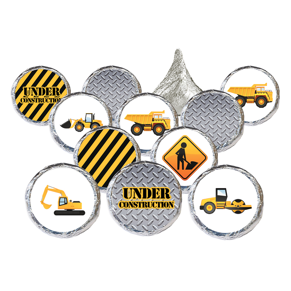 Construction Birthday Party Stickers 324ct - Under Construction Birthday Theme Party Supplies Candy Favors - 324 Count Stickers