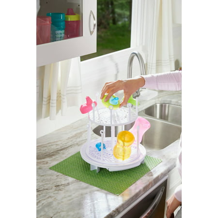 The First Years Spin Stack Drying Rack, 2 Level Large Capacity Baby Bottle Drying Rack