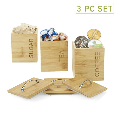 Mind Reader 3 Piece Bamboo Square Canisters, Storage Containers, Brown