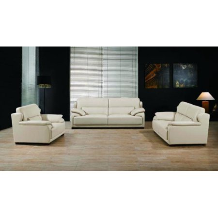 Maxwest P667 Modern Light Camel Genuine Leather Sofa Loveseat and Chair Set  3 Pc