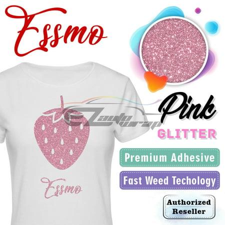 ESSMO Pink Glitter Heat Transfer Vinyl HTV Sheet T-Shirt 20
