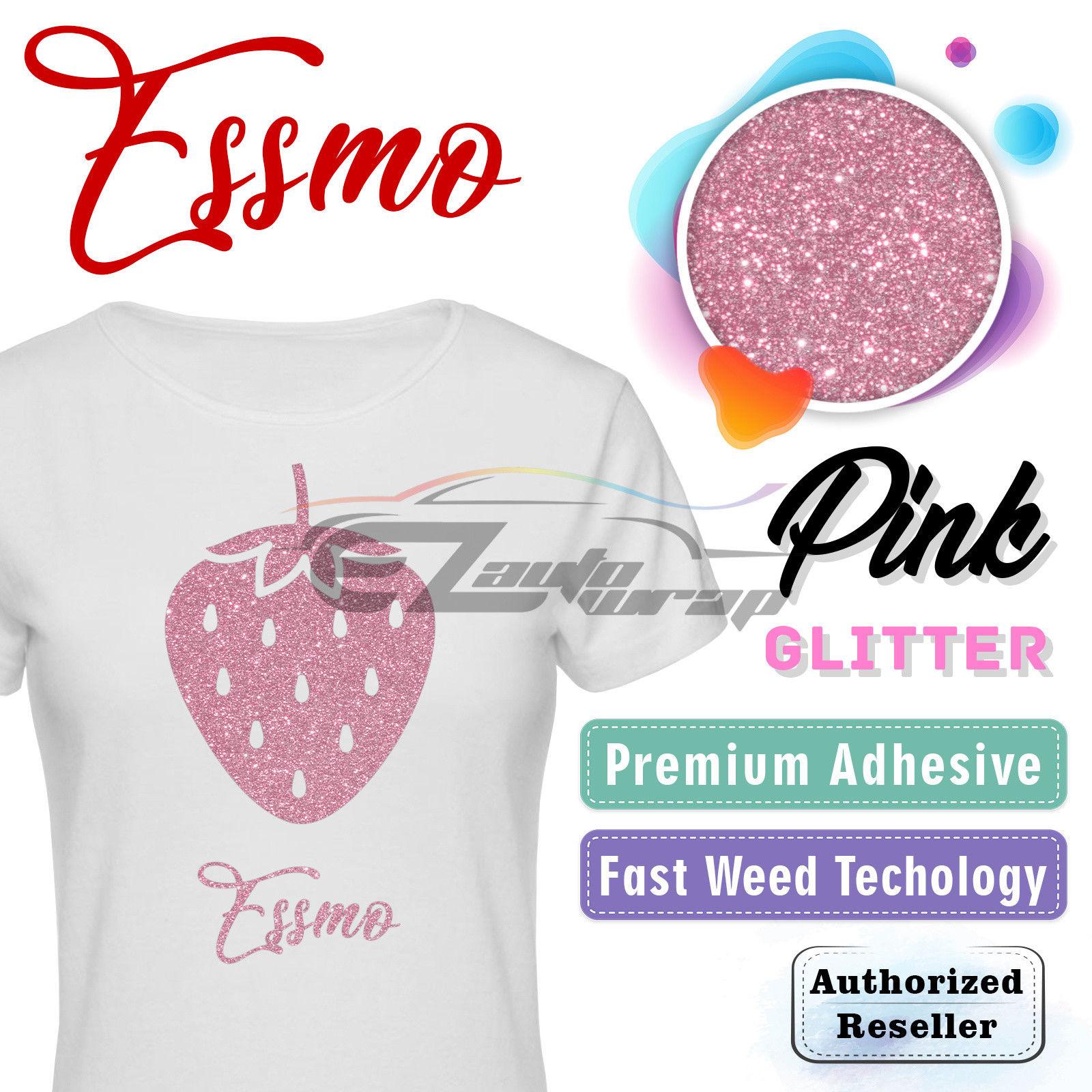 "ESSMO Pink Glitter Heat Transfer Vinyl HTV Sheet T-Shirt 20"" Wide Iron On Heat Press 20""x12"""