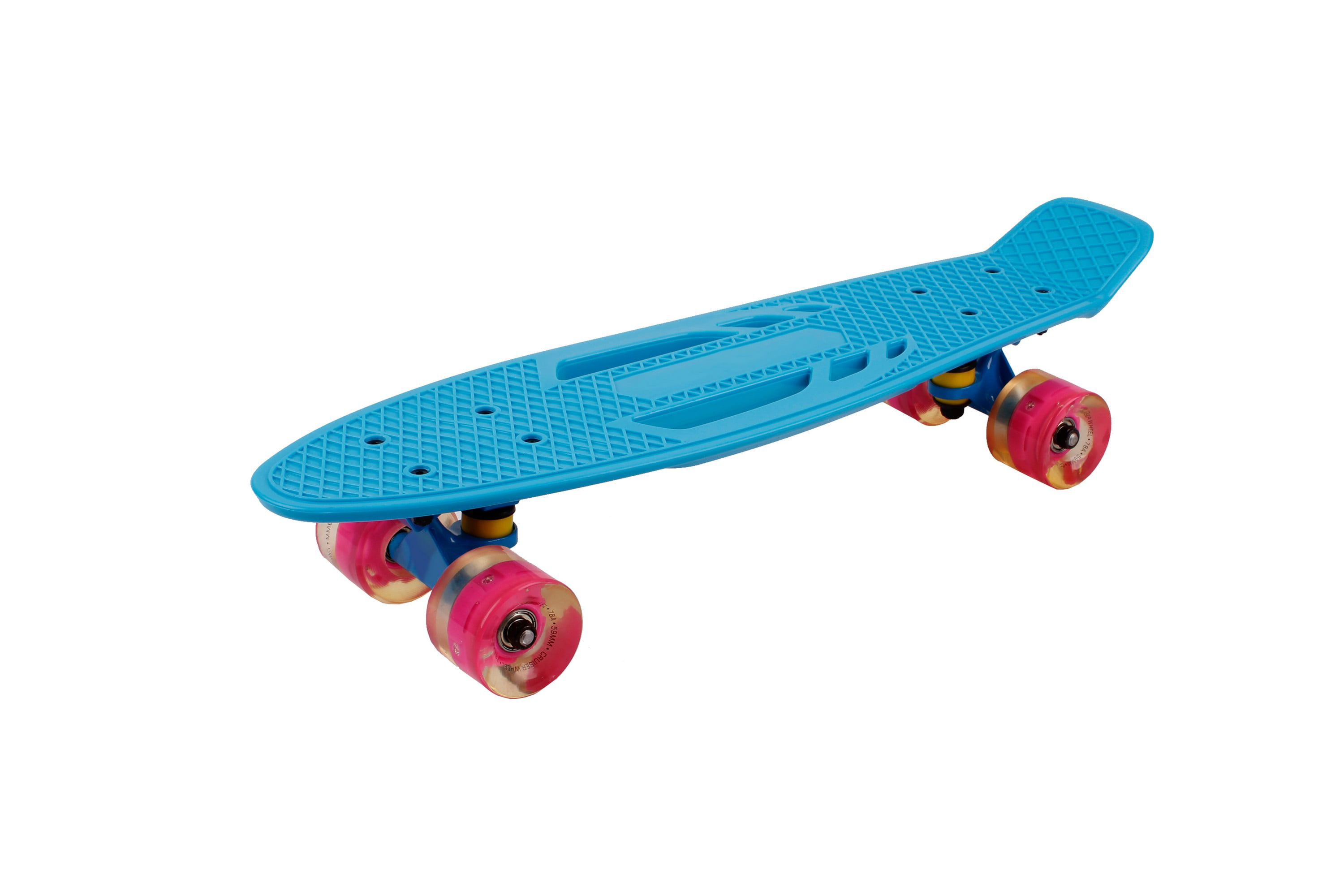 Shortboard for Kids and Adults 220 Ibs WZHESS 22-inch Vintage Skateboard,Complete Highly Flexible Plastic Cruiser Board with Smooth PU Casters,Skate for Beginners and Professionals