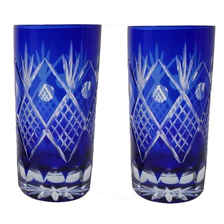 Set of 2 Exquisite Bohemian Crystal Style Cut Czech Drinking Rock Glasses Tumbler Set for Cocktails, Whiskey, Bourbon, Scotch,Beverage-Cobalt